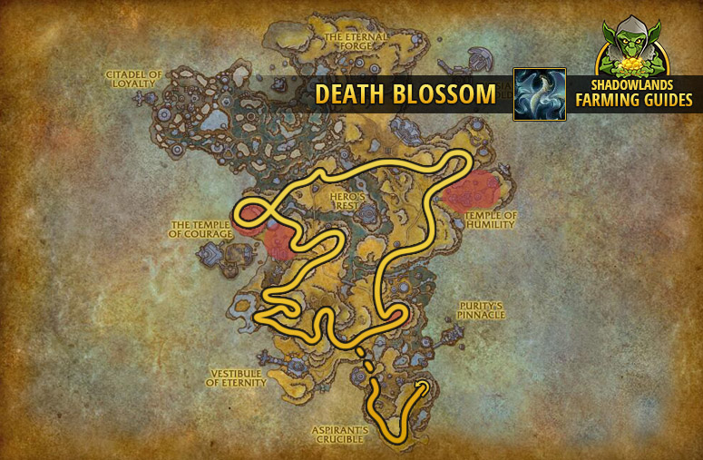 Route to farm Death Blossom in Bastion