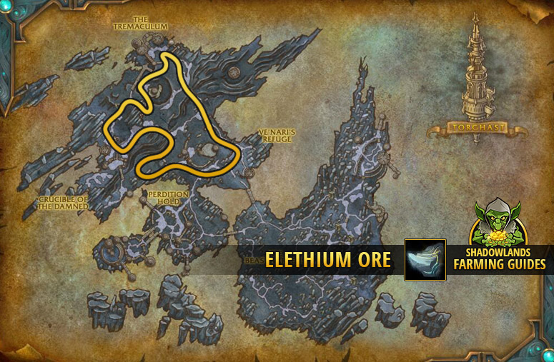 Route to farm Elethium Ore in the Maw
