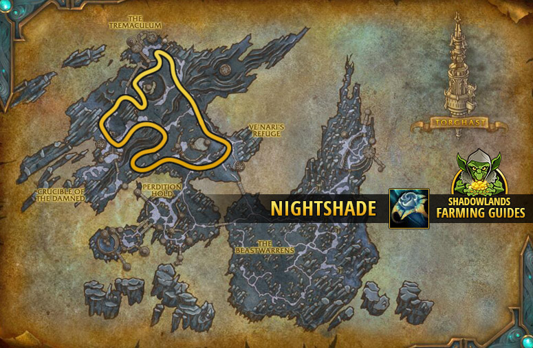 Route to farm Nightshade in The Maw