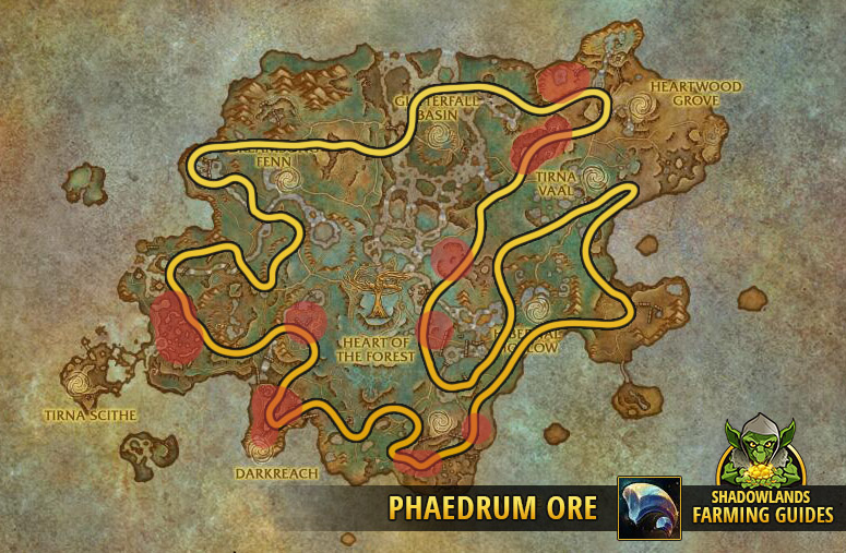 Full Route to farm Phaedrum Ore in Ardenweald
