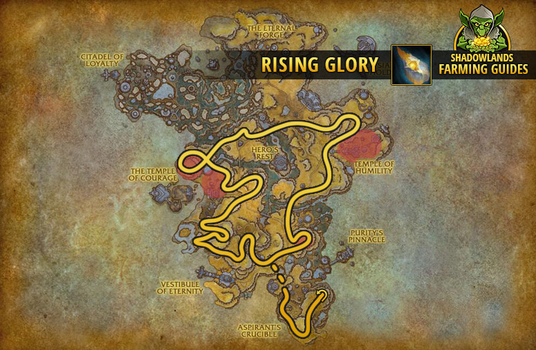 Route to farm Rising Glory in Bastion