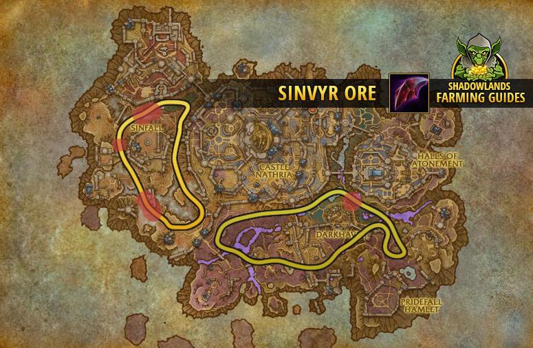 Route to farm Sinvyr Ore in Revendreth