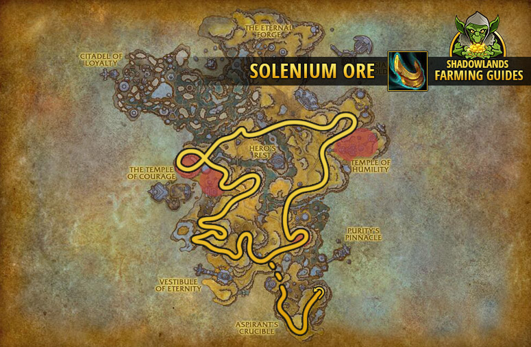 Route to farm Solenium Ore in Bastion